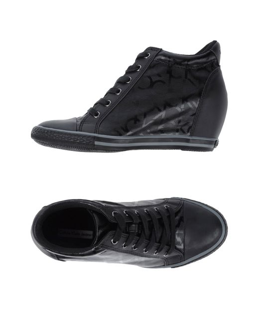 calvin klein jeans high tops trainers in black lyst. Black Bedroom Furniture Sets. Home Design Ideas