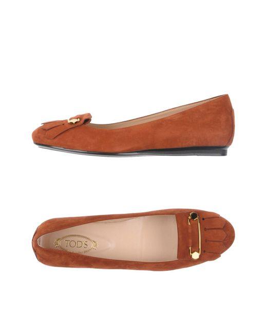 Tod's | Brown Ballet Flats | Lyst