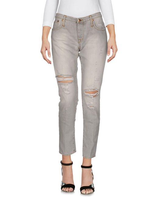 People - Gray Denim Pants - Lyst