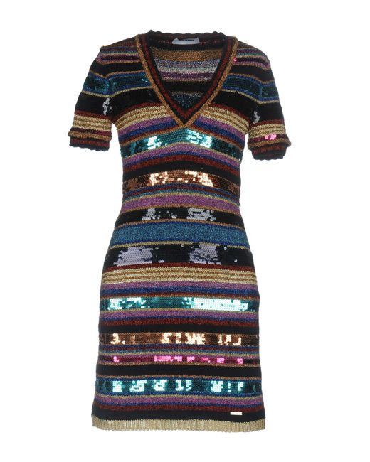 DSquared² - Blue Striped Knit Sequin Dress - Lyst