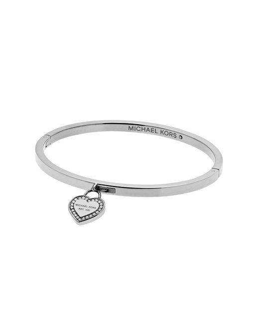 Michael Kors - Metallic Hinge Bangle With Heart Charm - Lyst