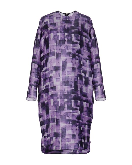 Marni | Purple Printed Silk And Linen-blend Dress | Lyst