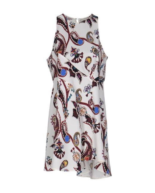 Mary Katrantzou | Black Colorblock Floral Print Silk Satin Dress | Lyst
