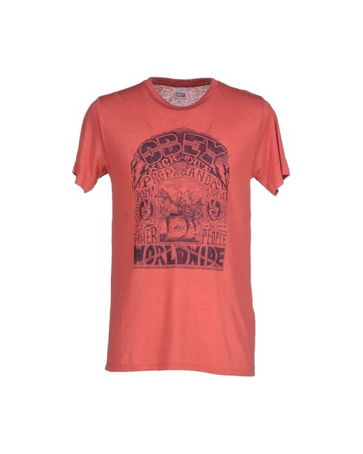 Obey   Red T-shirt for Men   Lyst
