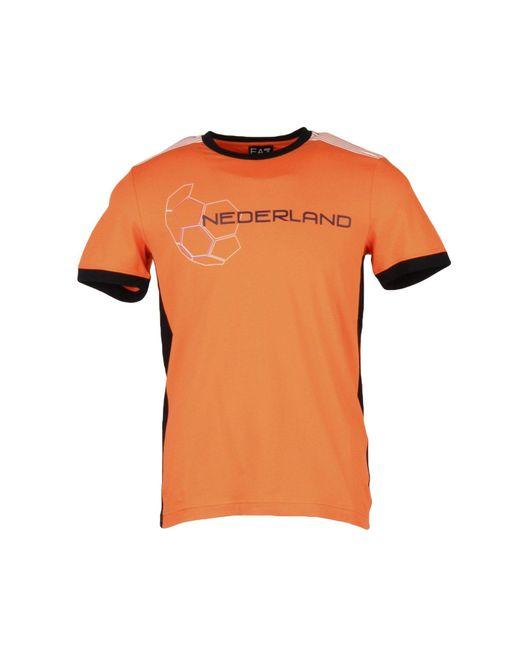 EA7 | Orange T-shirt for Men | Lyst