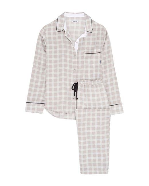 DKNY - Gray Checked Satin Pajama Set - Lyst