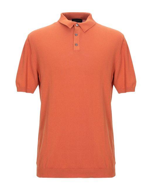 Roberto Collina Orange Polo Shirt for men
