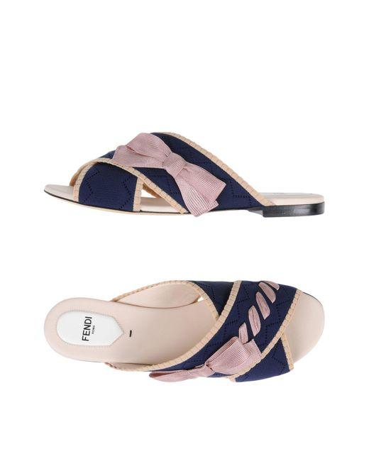 Fendi - Blue Bow Crossover Sandals - Lyst