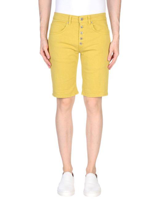 Dondup - Yellow Denim Bermudas for Men - Lyst