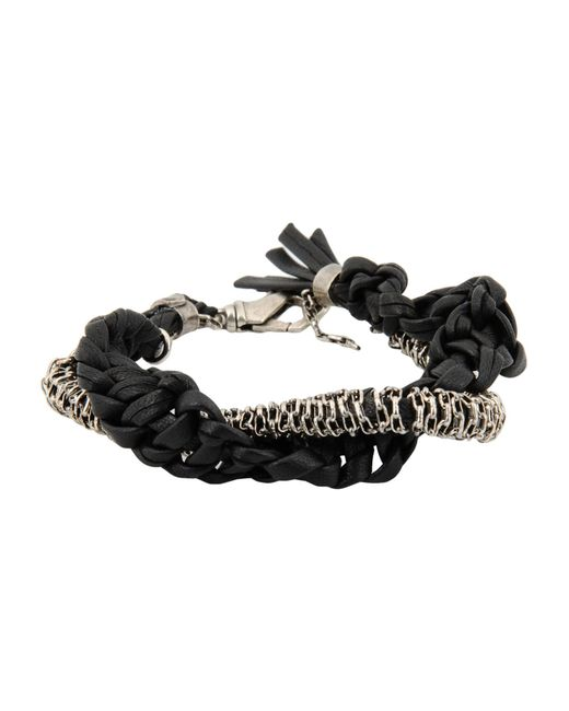 Emanuele Bicocchi | Black Chain and Leather Bracelet | Lyst