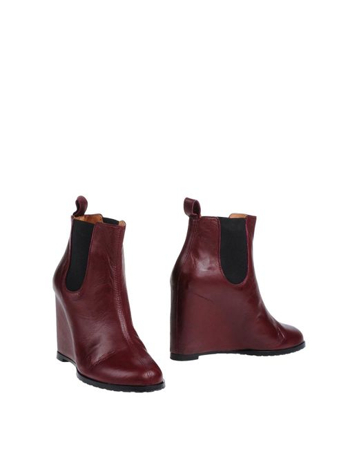 Minimarket - Purple Leather Wedge Ankle Boots - Lyst