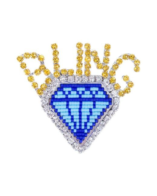 Shourouk - Blue Emojibling Diamond Brooch - Lyst