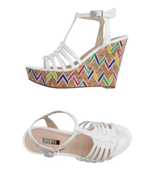 Guess - White Sandals - Lyst