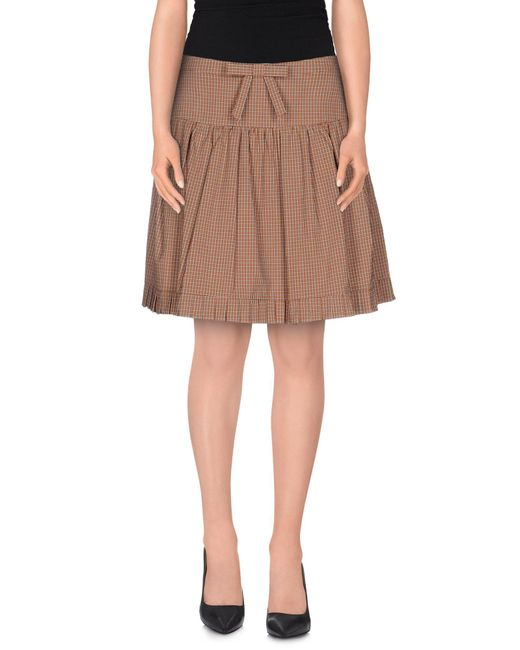 RED Valentino - Brown Knee Length Skirt - Lyst
