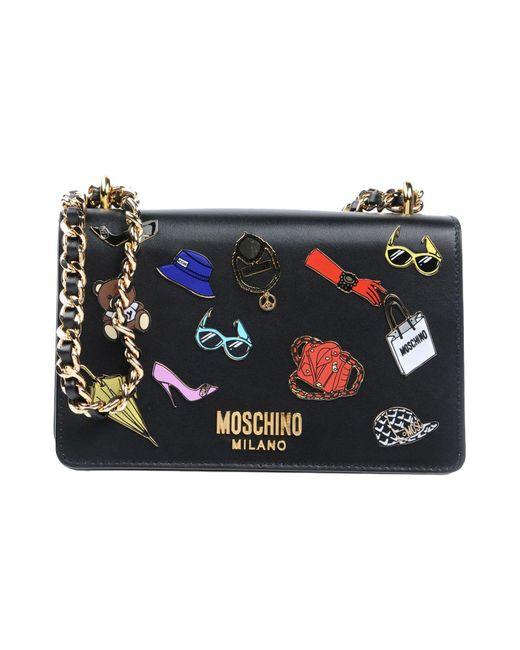 Moschino - Black Iconic Pins Leather Shoulder Bag - Lyst