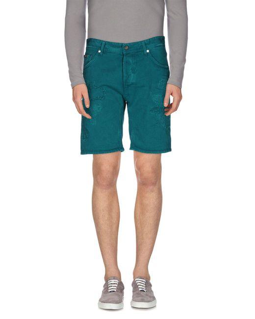 Just Cavalli - Green Denim Bermudas for Men - Lyst