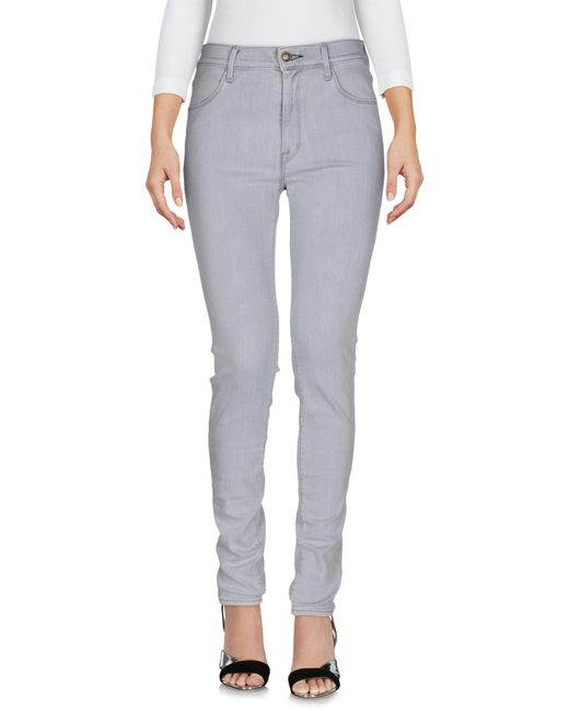 HTC - Gray Denim Trousers - Lyst
