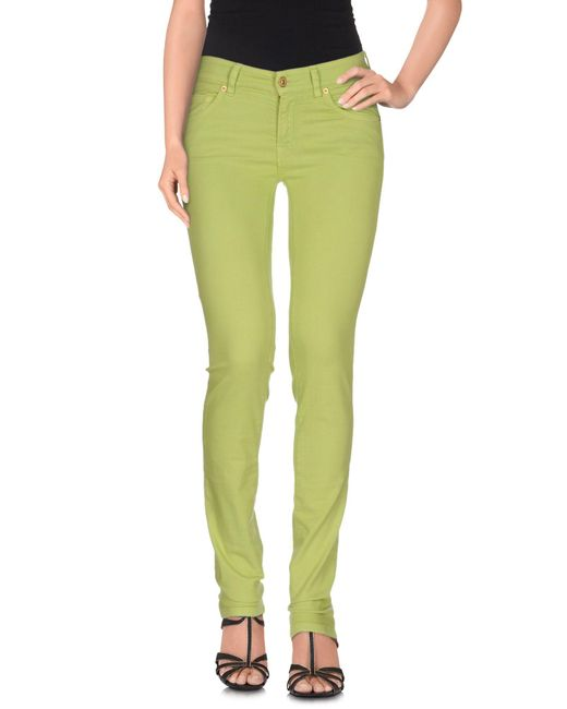 7 For All Mankind | Green Denim Trousers | Lyst