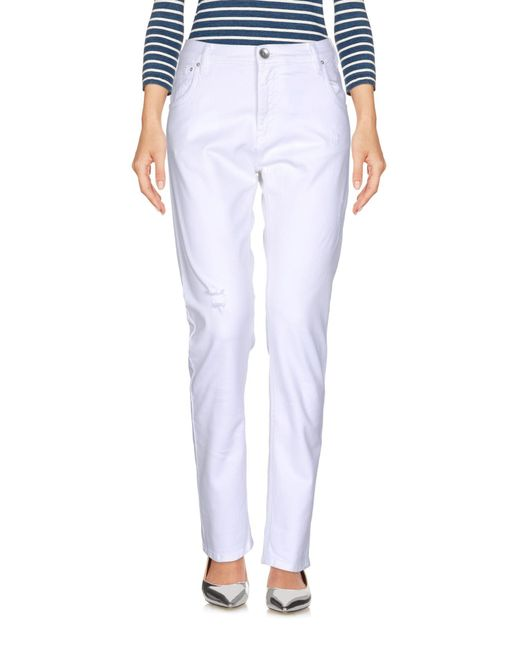 Novemb3r - White Denim Pants - Lyst