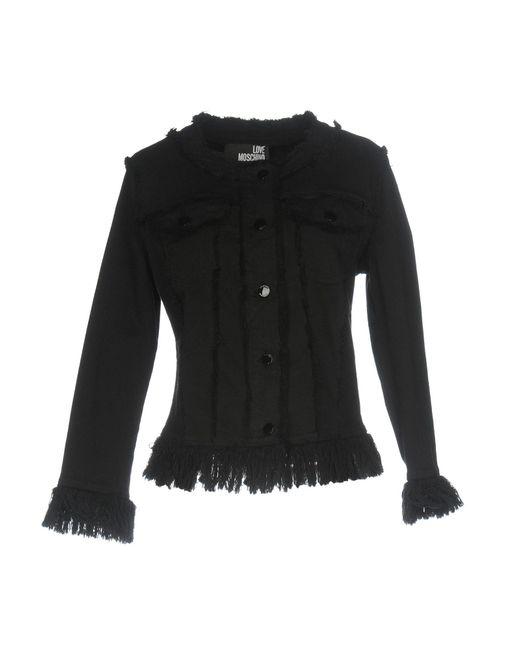 Love Moschino - Black Denim Outerwear - Lyst
