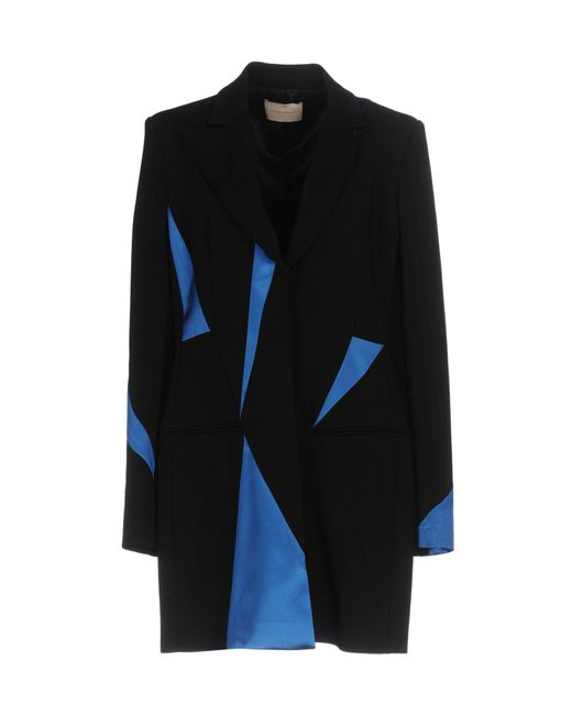 Christopher Kane - Black Tailored Coat With Contrasting Fabric Inserts - Lyst