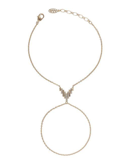 Astrid & Miyu - Metallic Fitzgerald Pyramid Hand Chain In Gold - Lyst