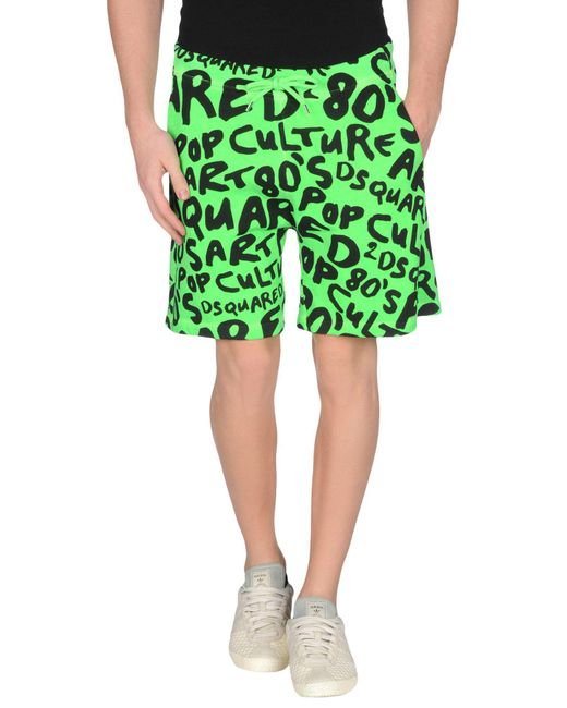DSquared² - Green Bermuda Cotton Shorts for Men - Lyst