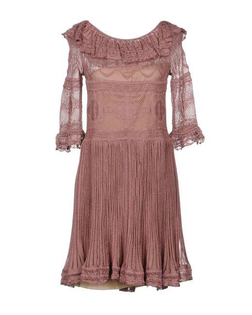 Alberta Ferretti - Pink Short Dresses - Lyst