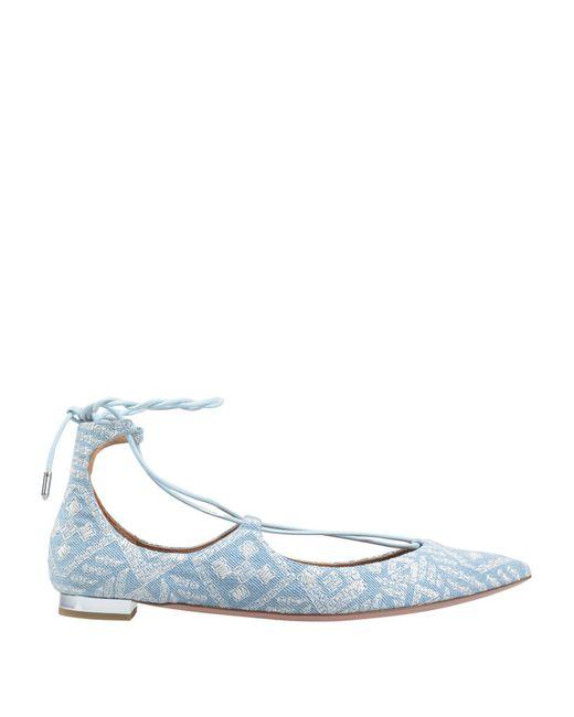 Aquazzura - Blue Ballet Flats - Lyst