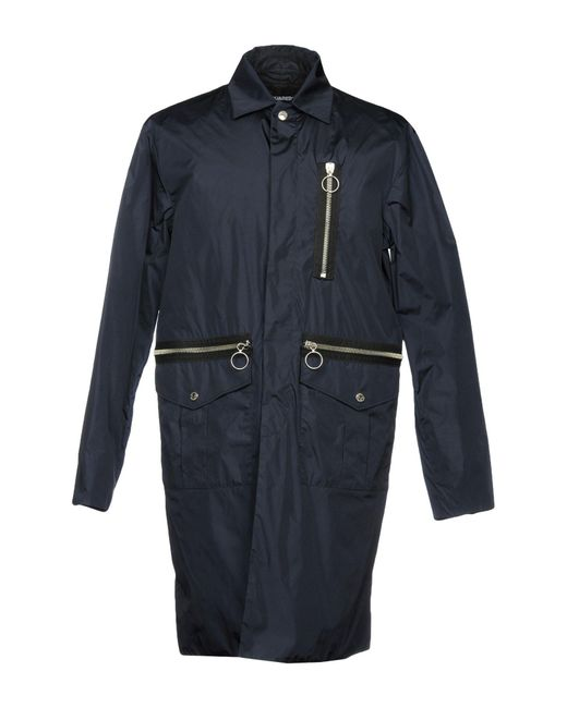DSquared² - Blue Overcoat for Men - Lyst