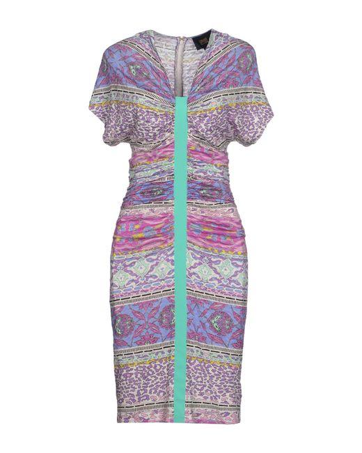 Class Roberto Cavalli - Purple Knee-Length Dress - Lyst