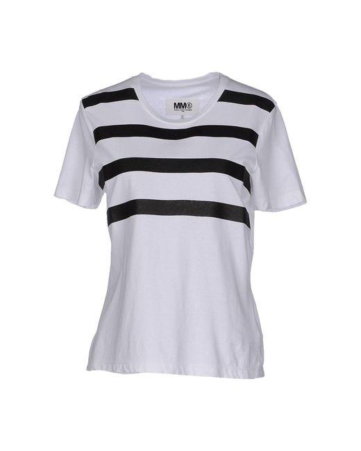 MM6 by Maison Martin Margiela - White T-shirt - Lyst