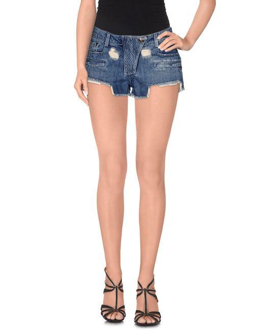 Balmain - Blue Denim Shorts - Lyst