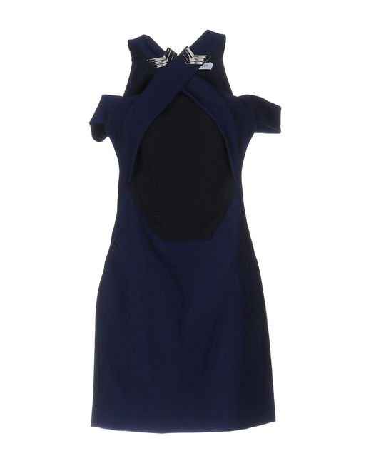 Mugler - Blue Jersey and Crepe Dress - Lyst