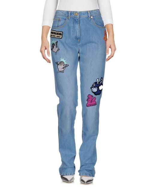 KENZO - Blue Denim Pants - Lyst