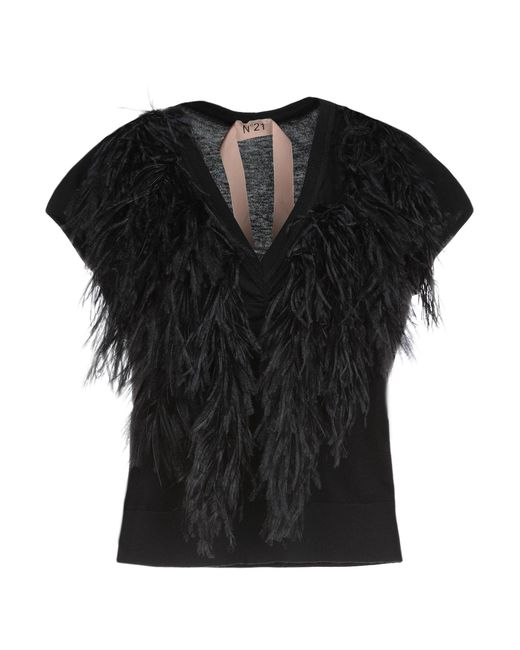 N°21 - Black Ostrich Feather-trimmed Sweater - Lyst