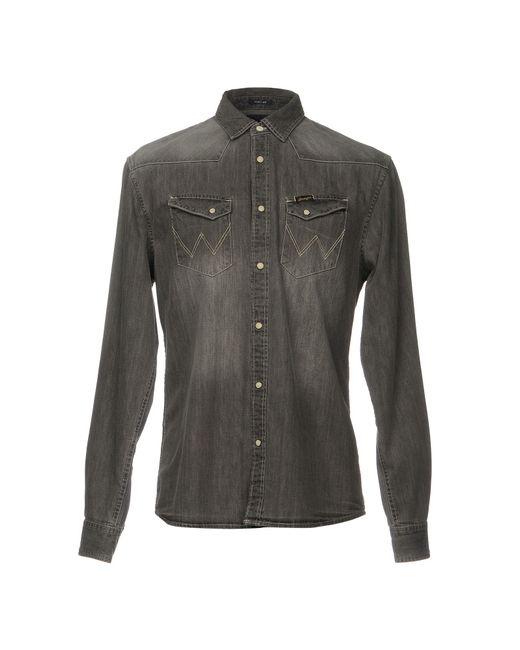 Lyst wrangler denim shirt in grey for men for Wrangler denim shirts uk