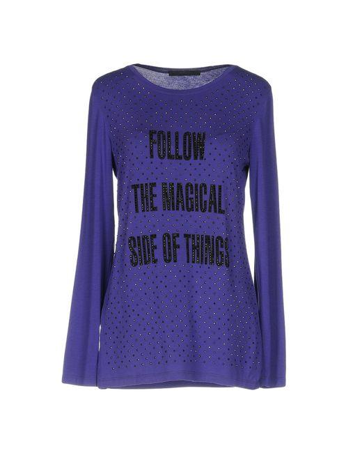 Les Copains - Purple T-shirt - Lyst