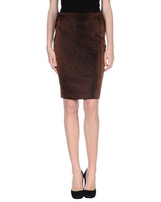 Pinko - Brown Knee Length Skirt - Lyst