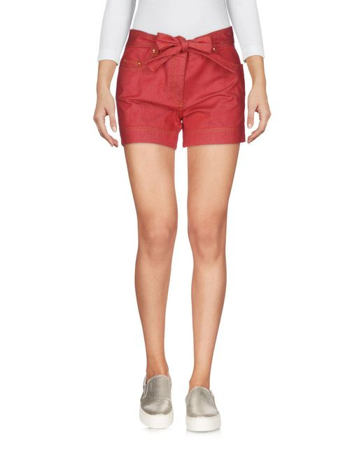 Boutique Moschino - Red Denim Shorts - Lyst