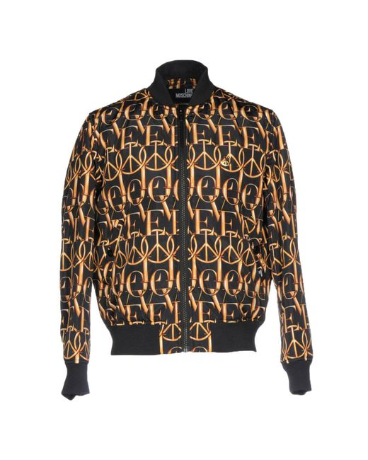 Love Moschino - Black Peace Print Bomber Jacket for Men - Lyst