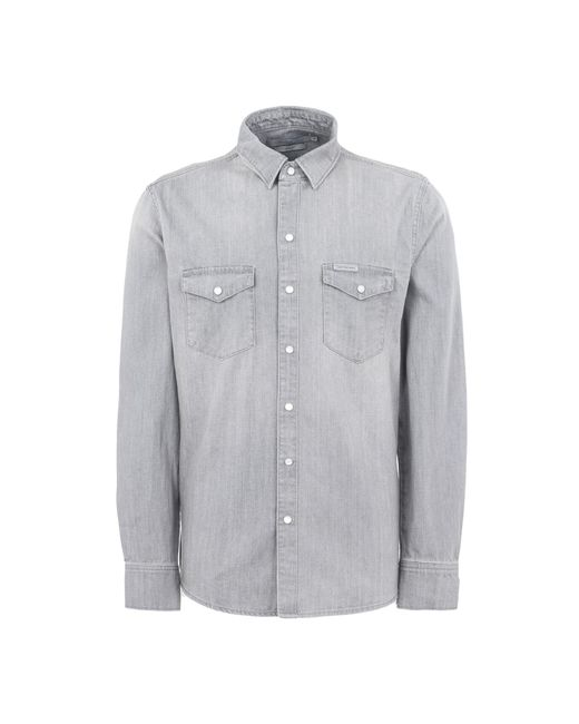 Calvin Klein - Gray Denim Shirt for Men - Lyst