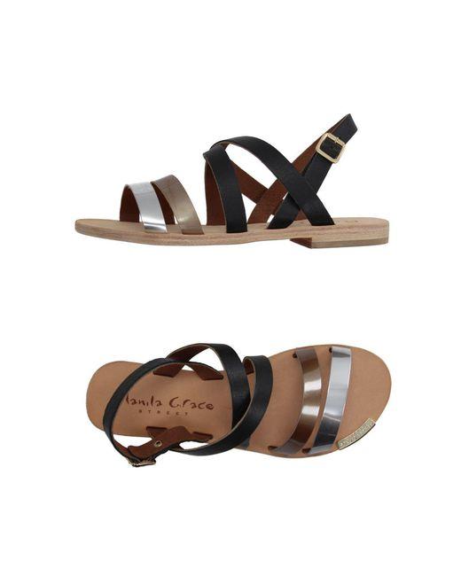 Manila Grace - Black Sandals - Lyst