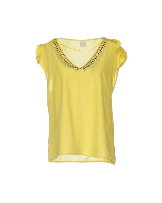 Pinko - Yellow Blouse - Lyst