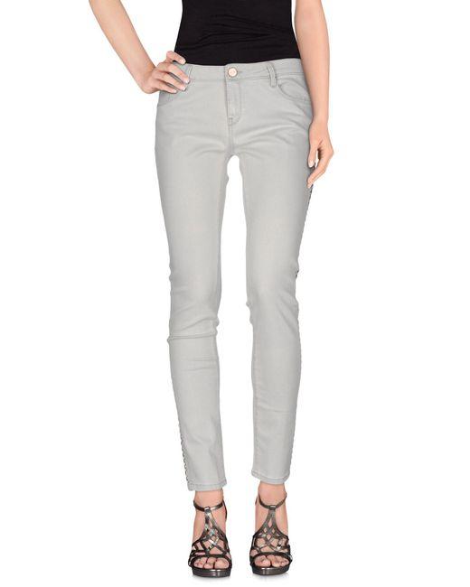 Pinko - Gray Denim Trousers - Lyst