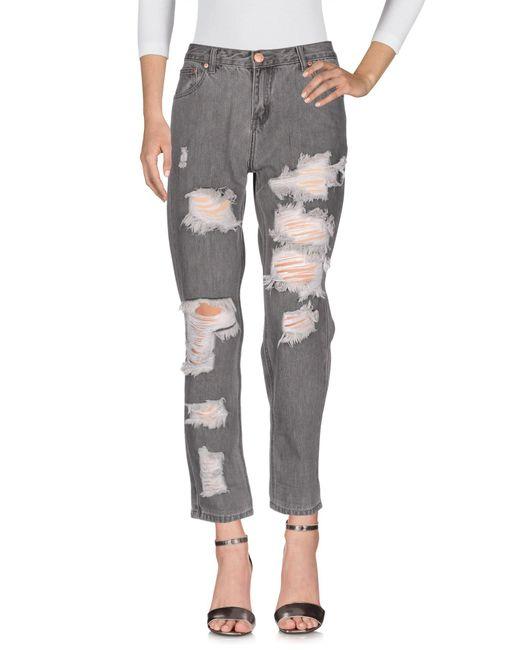 Glamorous - Gray Denim Pants - Lyst