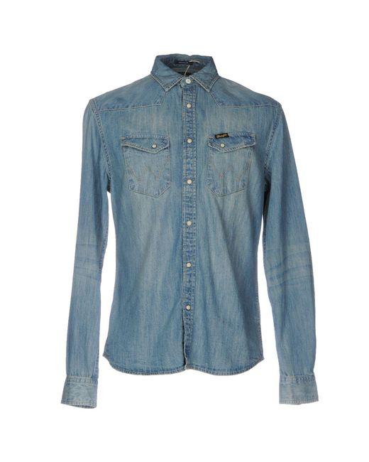 Wrangler denim shirts in blue for men lyst for Wrangler denim shirts uk