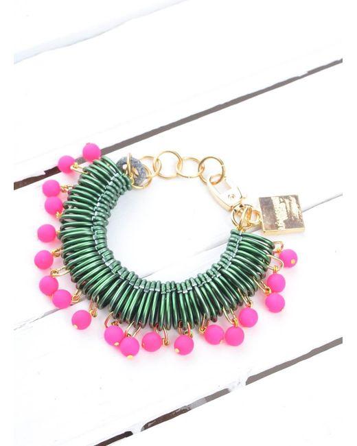 Longshaw Ward | Bracelet In Dark Green/neon Pink | Lyst