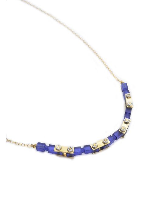 Lily Kamper - Blue Navy Frosted Gold Mechanic Necklace - Lyst