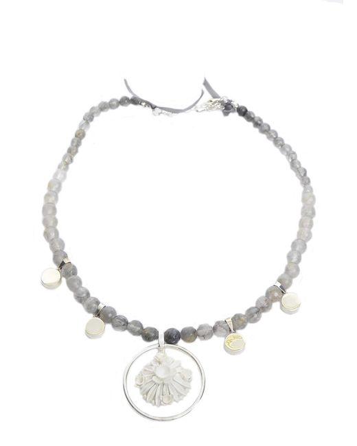 RDLux | Metallic Palm Island Pendant In Silver Quartz With Antique Cabochon | Lyst